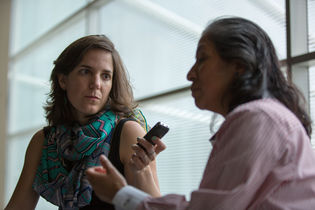 Maria Cruz interviewing Nancy Gertrudiz at Wikimania 2015.jpg